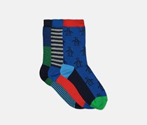 Kids Boys Feeder Stripes 3 Pairs Socks, Blue Combo