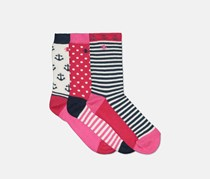 Original Penguin Kids Girl's Anchor 3 Pairs Sock, White/Pink