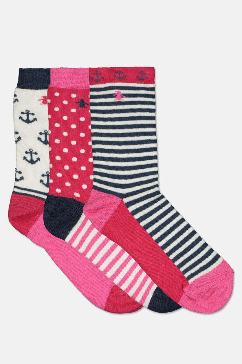 Kids Girl's Anchor 3 Pairs Sock, White/Pink