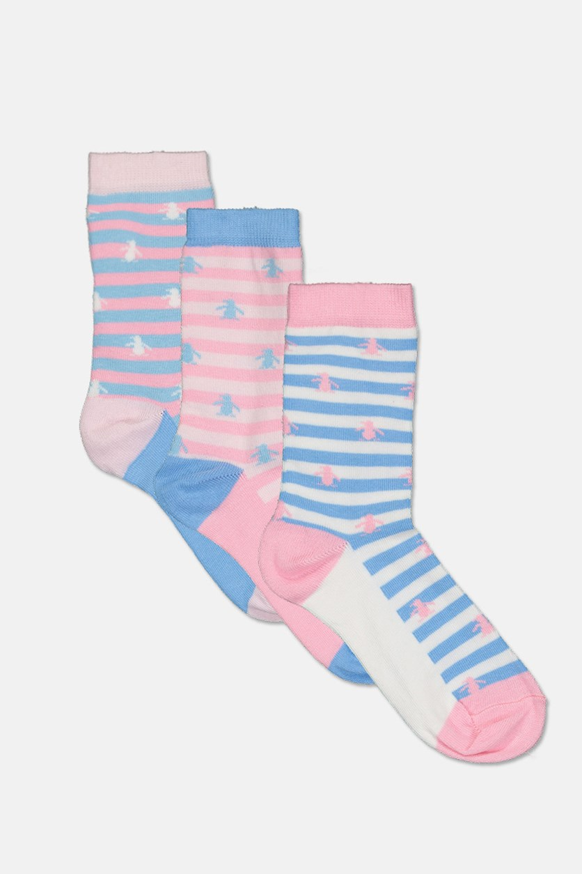 Kid's Girl's 3 Pack Socks, Light Pink/Blue