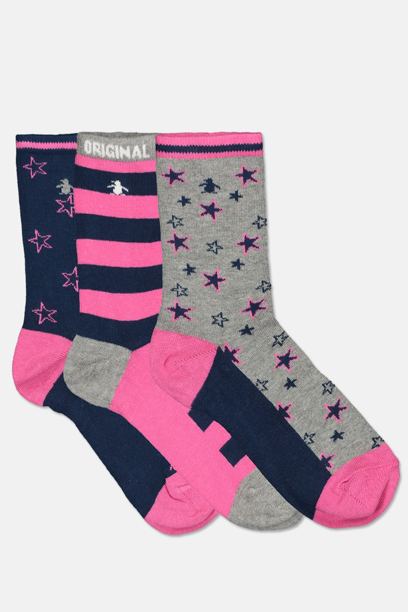 Kids Girl's Star 3 Pairs Socks, Grey/Navy/Pink