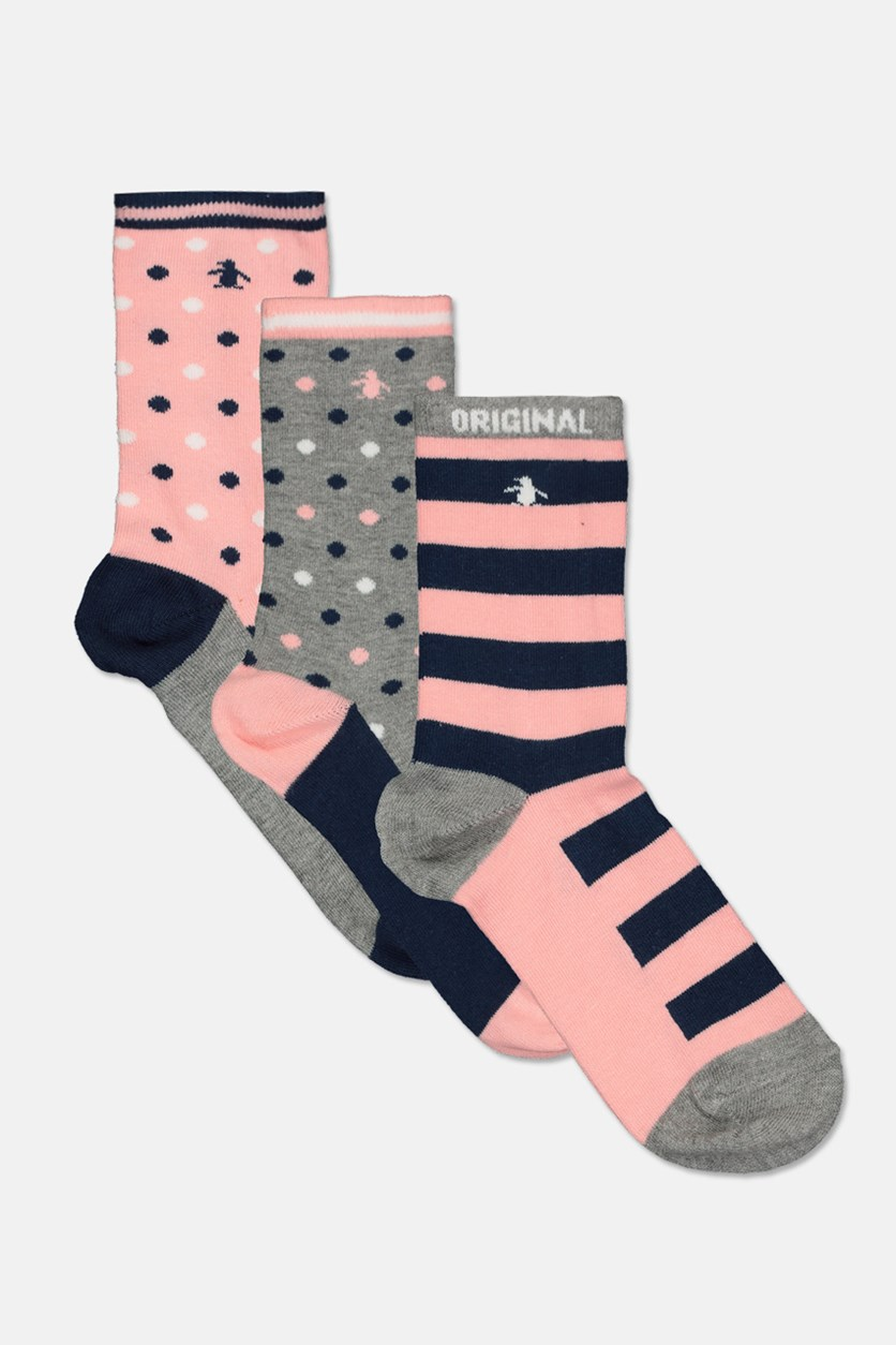 Kids Girl's 3 Pack Socks, Grey/Pink/Navy