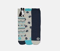 Fenella Smith Women's Graphic 3 Pairs Socks, Navy/Grey