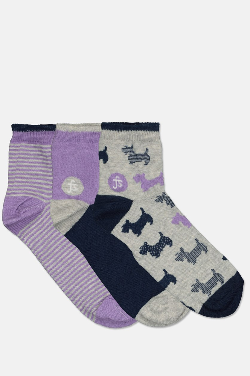 Women's 3 Pairs Socks, Purple/Navy/Grey