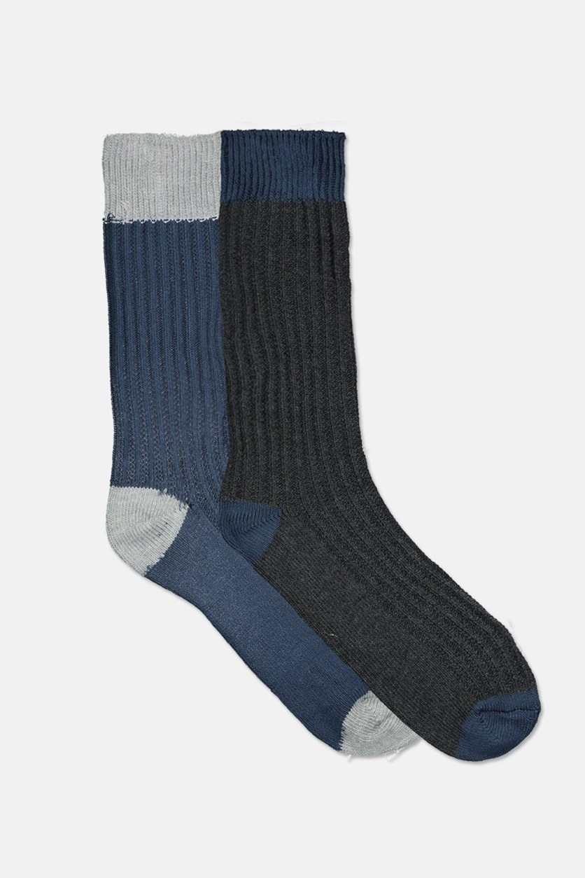 Men's 2 Pairs Socks, Navy/Charcoal