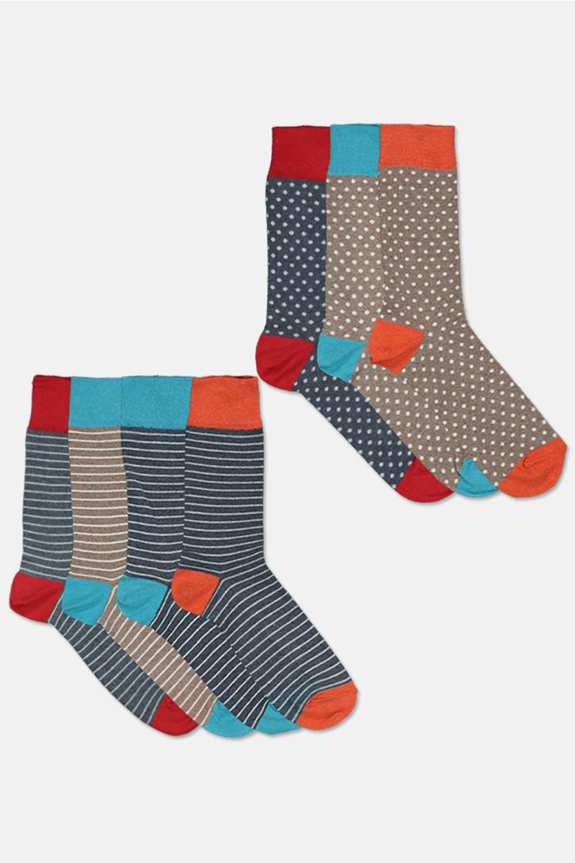 Men's Spot Striped 7 Pairs Sock, Brown/Red/Gray/Blue/Orange