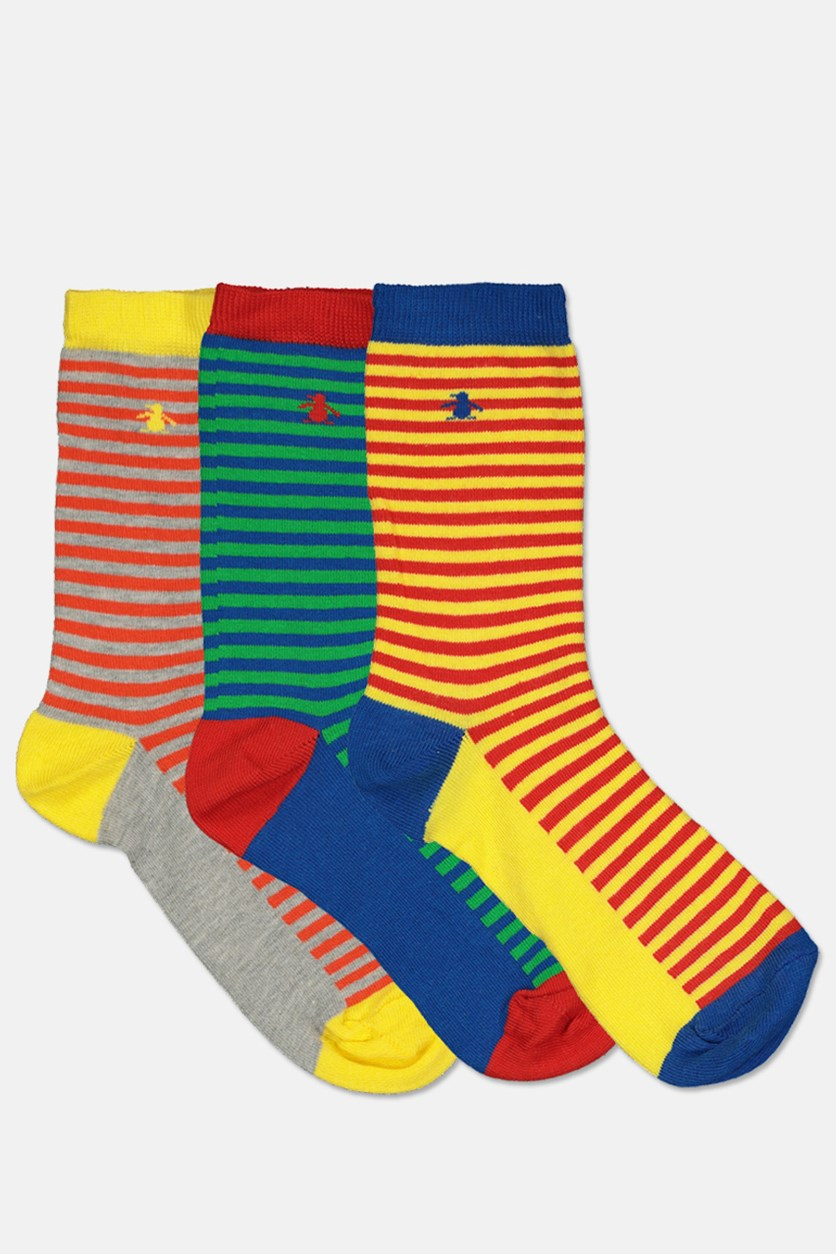 Kids Boys Feeder Stripes 3 Pairs Socks, Yellow/Red/Blue
