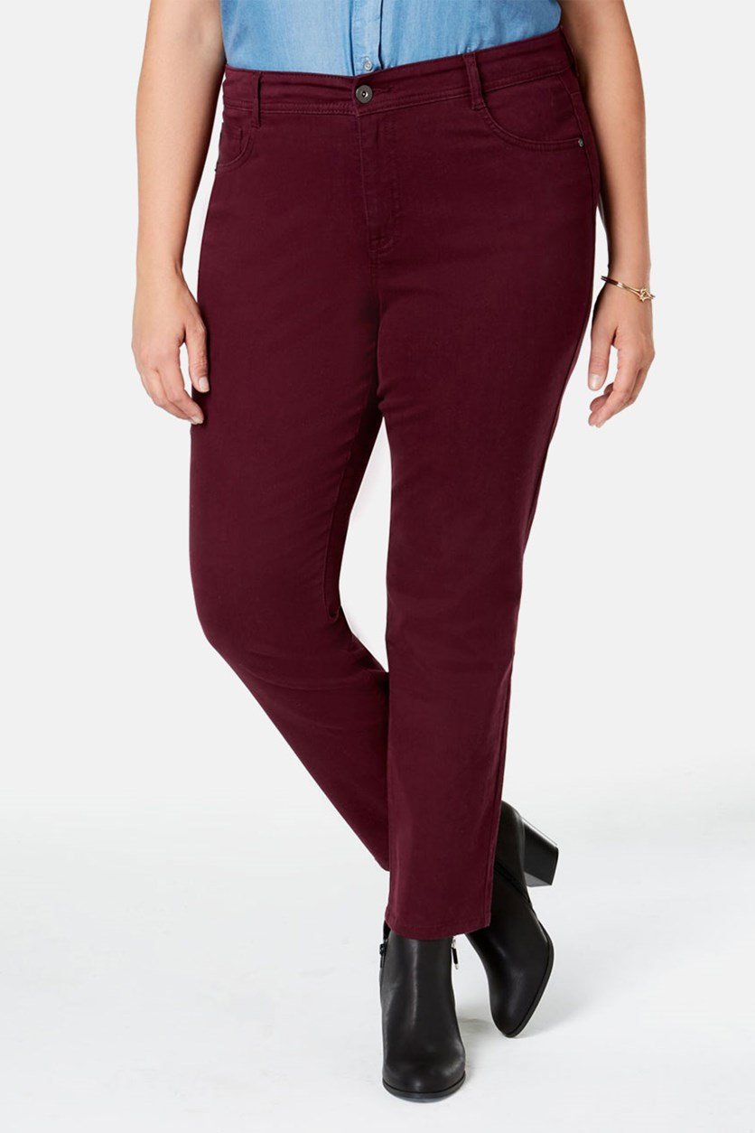. Women's Plus Denim High Rise Skinny Jeans, Berry Jam