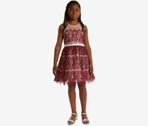 Rare Editions Big Girls Illusion Neck Lace Dress, Burgundy