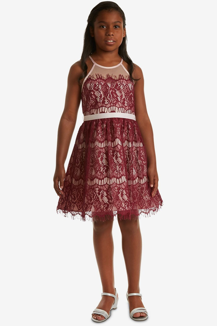 Big Girls Illusion Neck Lace Dress, Burgundy