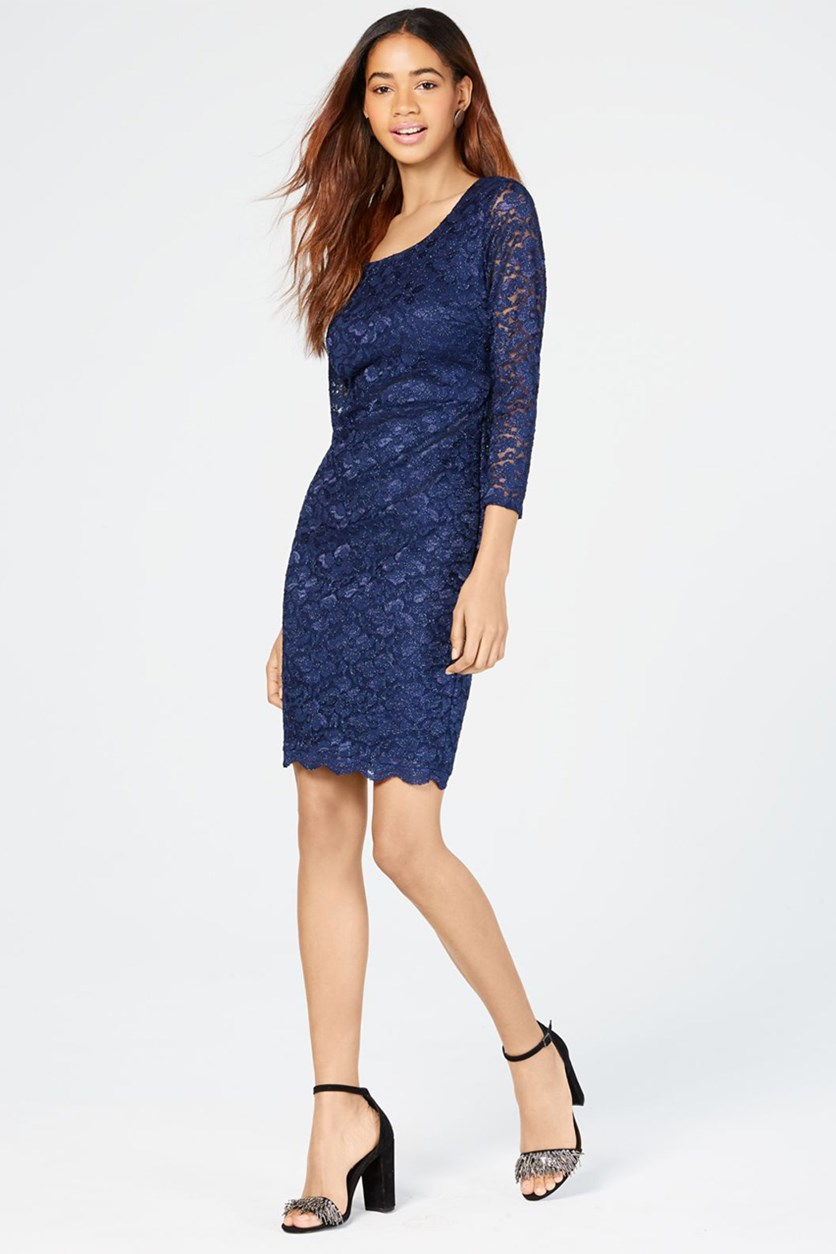 Juniors' Open-Back Lace Bodycon Dress, Blue