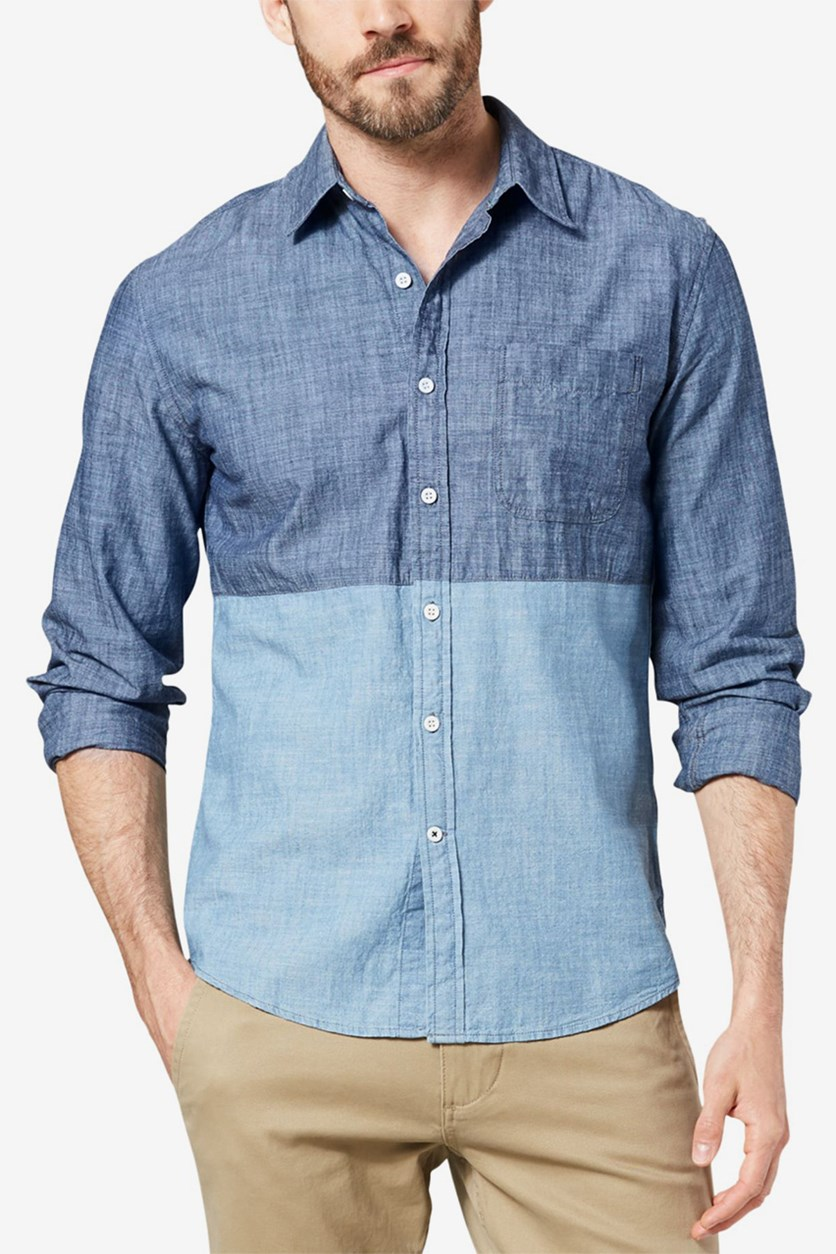 Dockers Men's Slim-Fit Color-Block Chambray Shirt, Blue