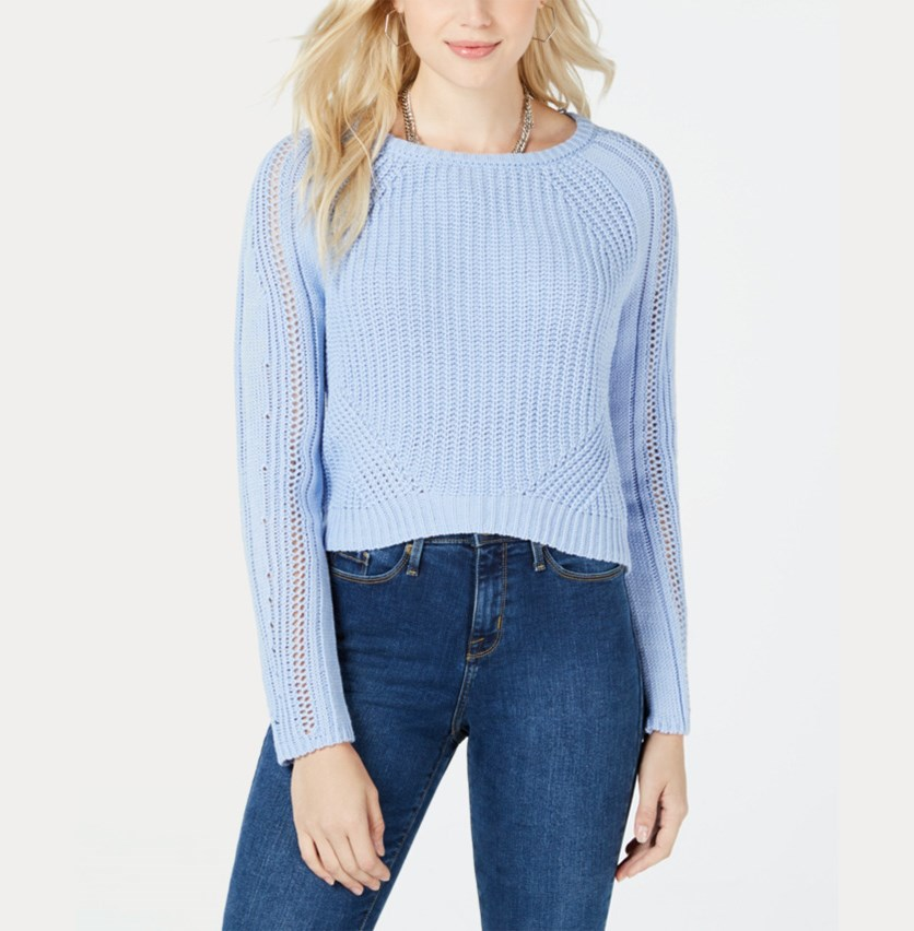 Juniors Long Sleeve Cropped Sweater, Blue