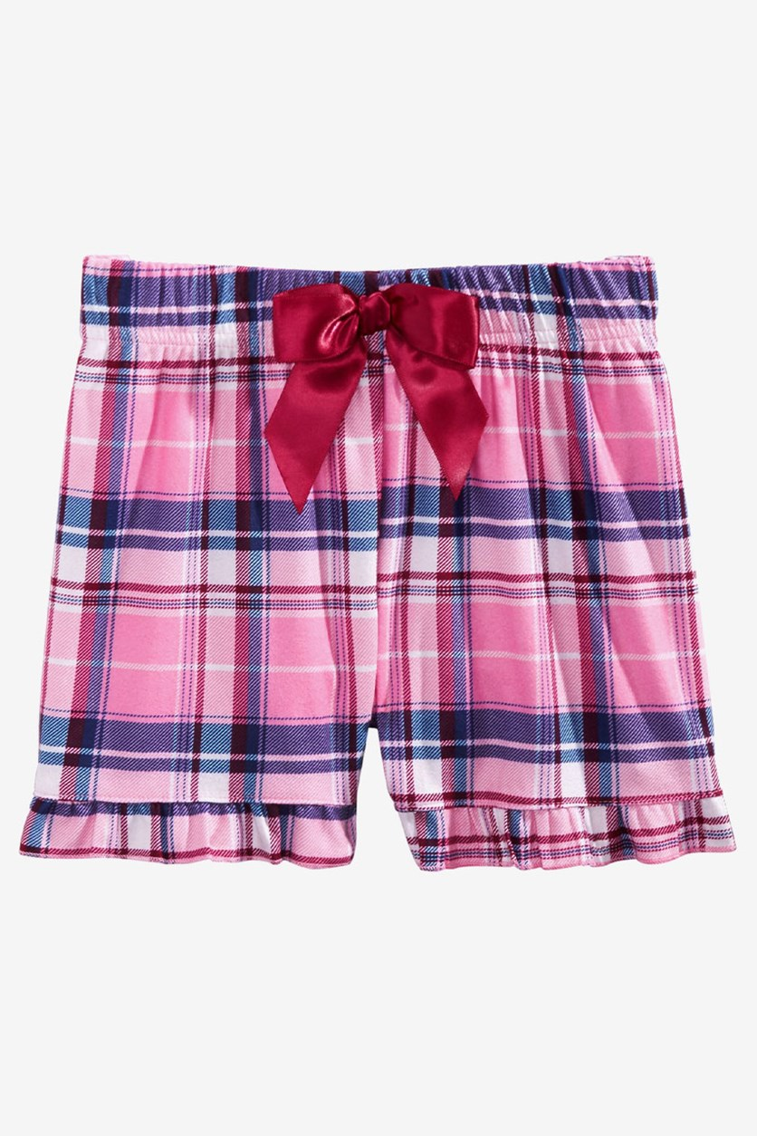 Big Girls Plaid Pajama Shorts, Pink