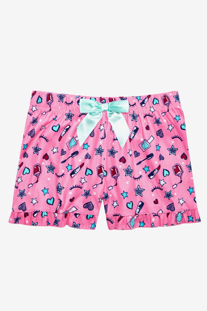 Big Girls Printed Pajama Shorts, Pink Combo