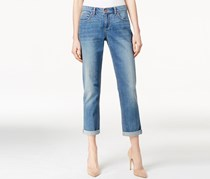 Vintage America Women's Released Hem Boyfriend Jeans, Blue