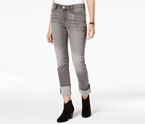Black Daisy Women's Kate Distressed Straight-Leg Jeans, Grey