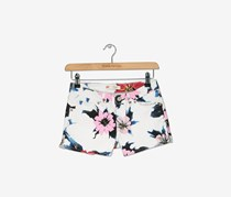 Levis Girl's Floral-Print Short, White/Pink