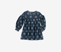 Tommy Hilfiger Little Girls Long-Sleeve Star-Print Denim Cotton Dress, Navy