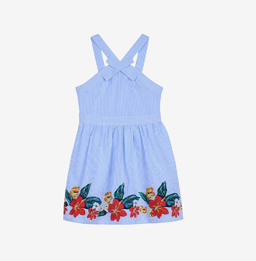 Kids Girls' Seersucker Sleeveless Dress, Blue