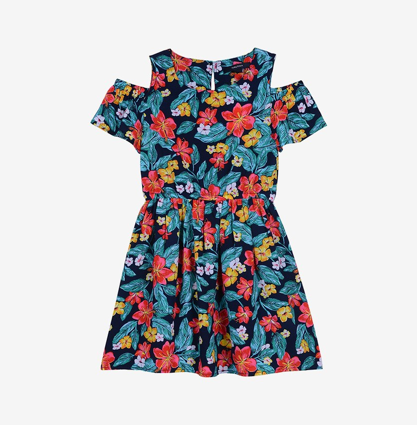 Little Girl's Floral Print Dress, Navy Combo