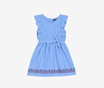 Nautica Girls' Shell Smocked Dress, Light Chambray
