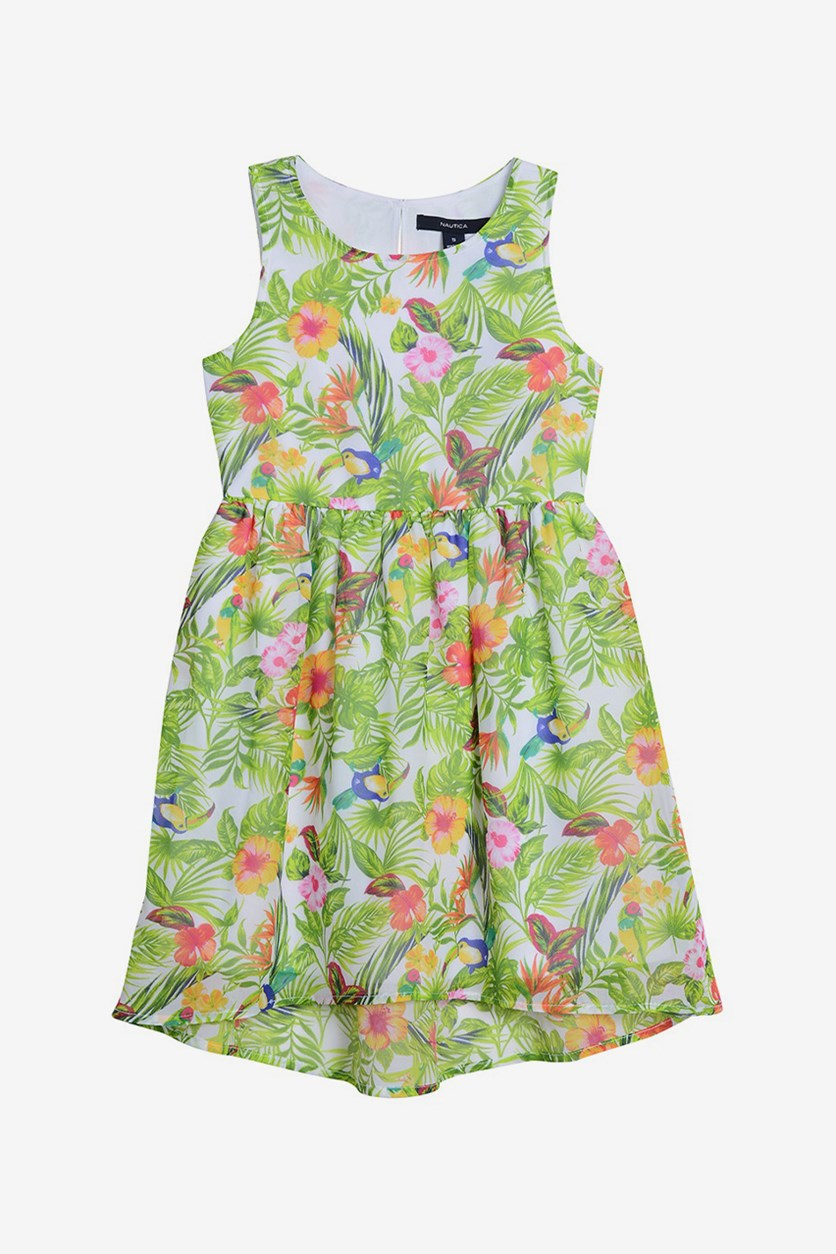Kids Girl's Tropical Floral Dress, Green Combo