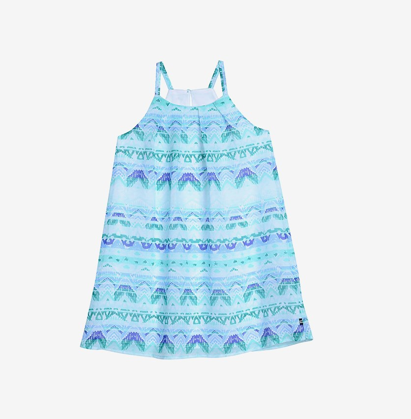 Little Girl's Sleeveless Boho Stripe Printed Dress, Teal