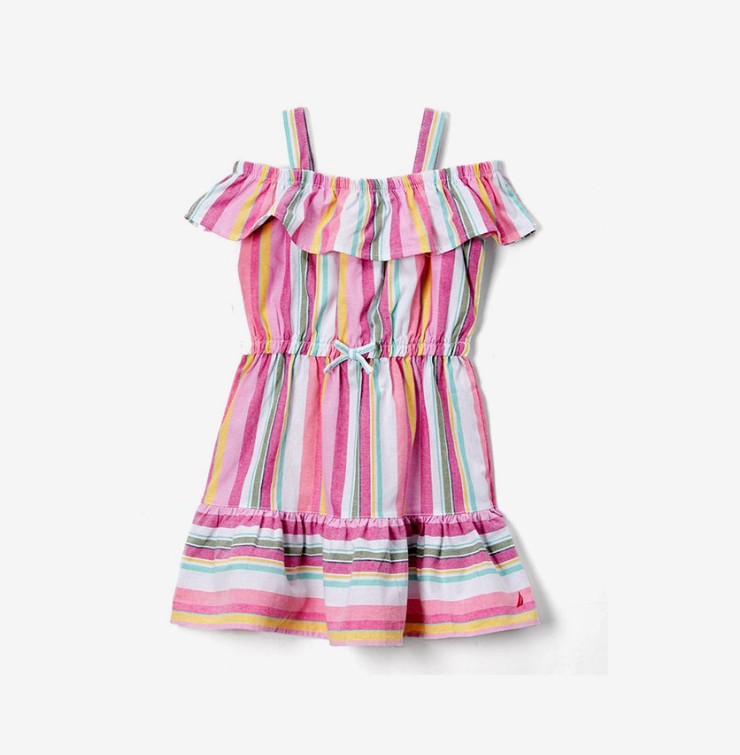 Girls' Stripe Ruffle A-Line Dress, Pink