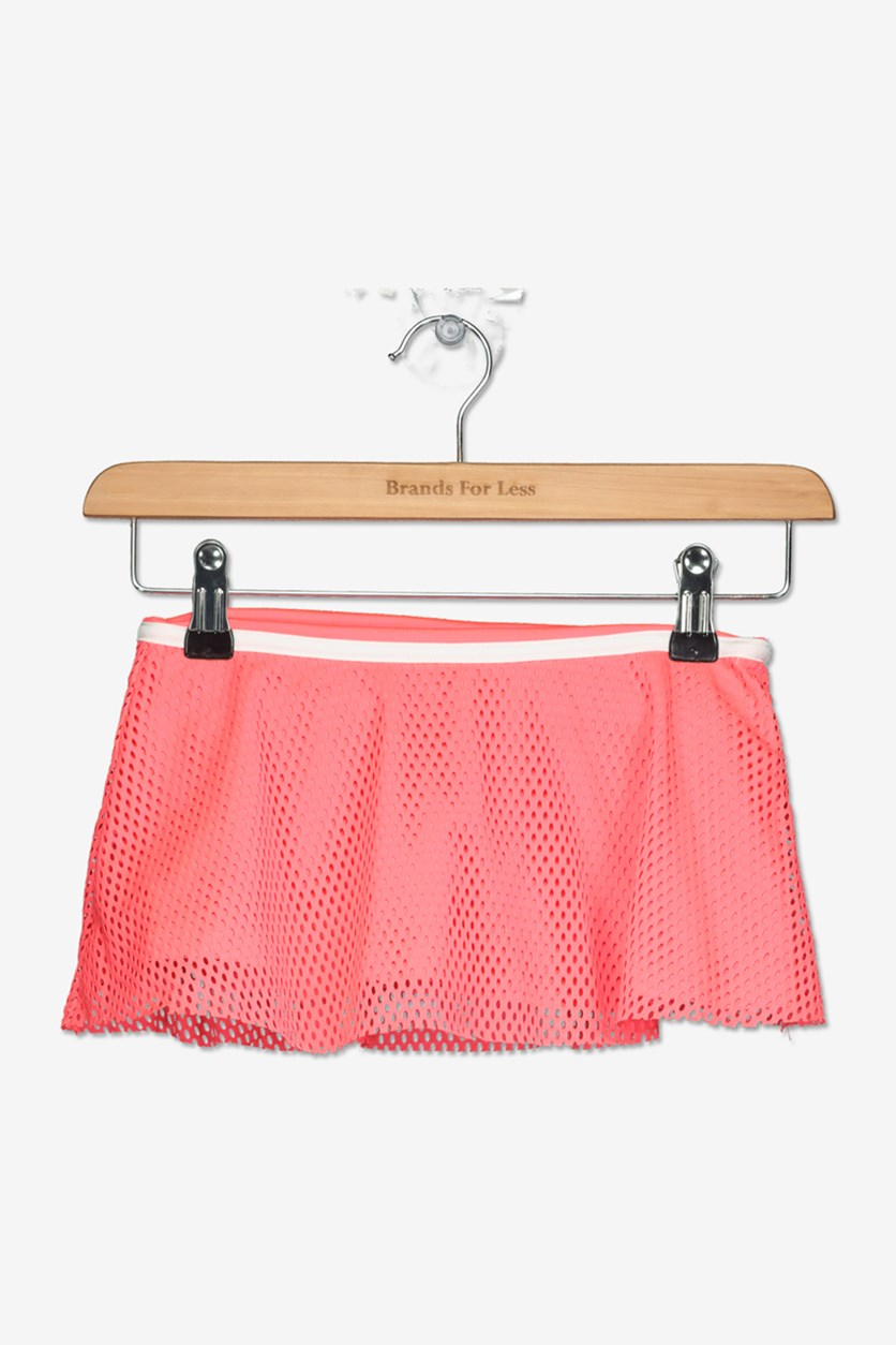 Little Girls Mesh Skort, Flamingo Pink
