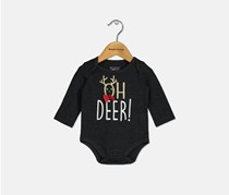 First Impressions Baby Boys Oh Dear Graphic Bodysuit, Black Heather