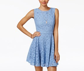 City Studios Women's Lace Fit & Flare Dress, Blue