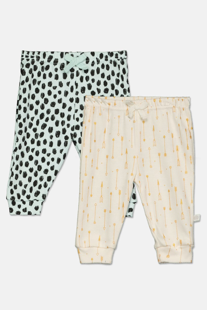 Toddlers Girl's Print Pant Set, White/Green/Black