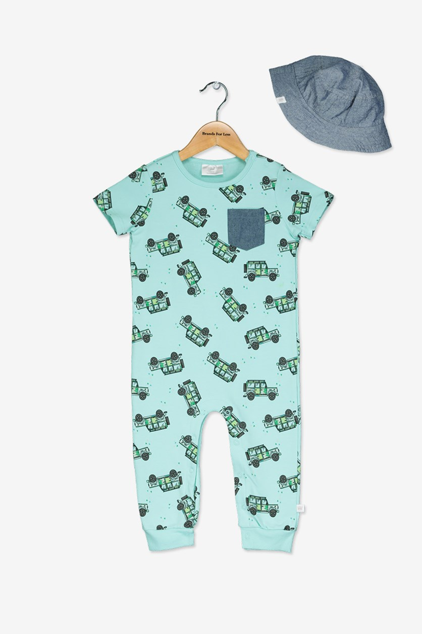 Toddlers Boy's Print Romper & Bucket Hat Set, Turquoise/Navy