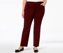 Charter Club Women's Plus Tummy Slimming Straight Leg Pants, Maroon