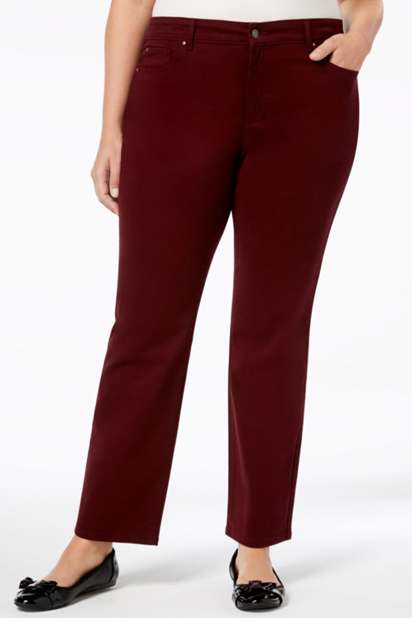 Women's Plus Tummy Slimming Straight Leg Pants, Maroon