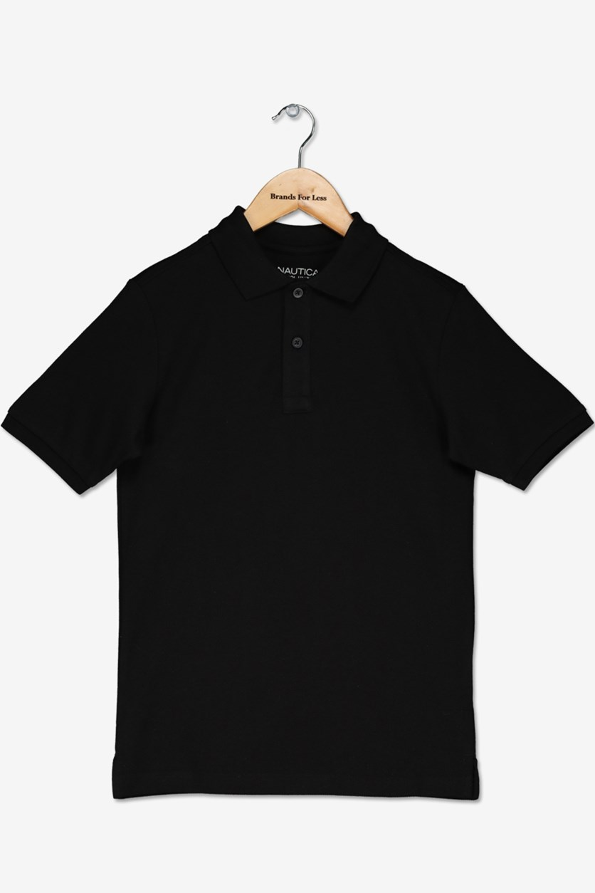 Big Boy's School Uniform Polo, Black