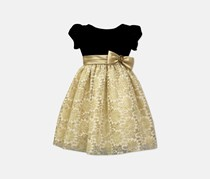 Jayne Copeland Toddler Girl's Sorbet Velvet & Lace Dress, Black/Gold