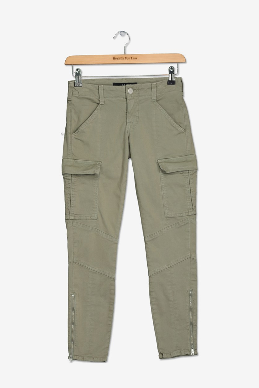 Women Cargo Chino Jeans, Olive