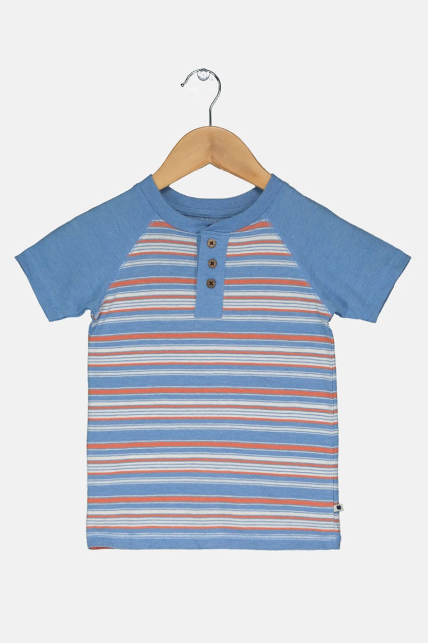 Short Sleeve Striped Henley Top, Blue Dream Heather