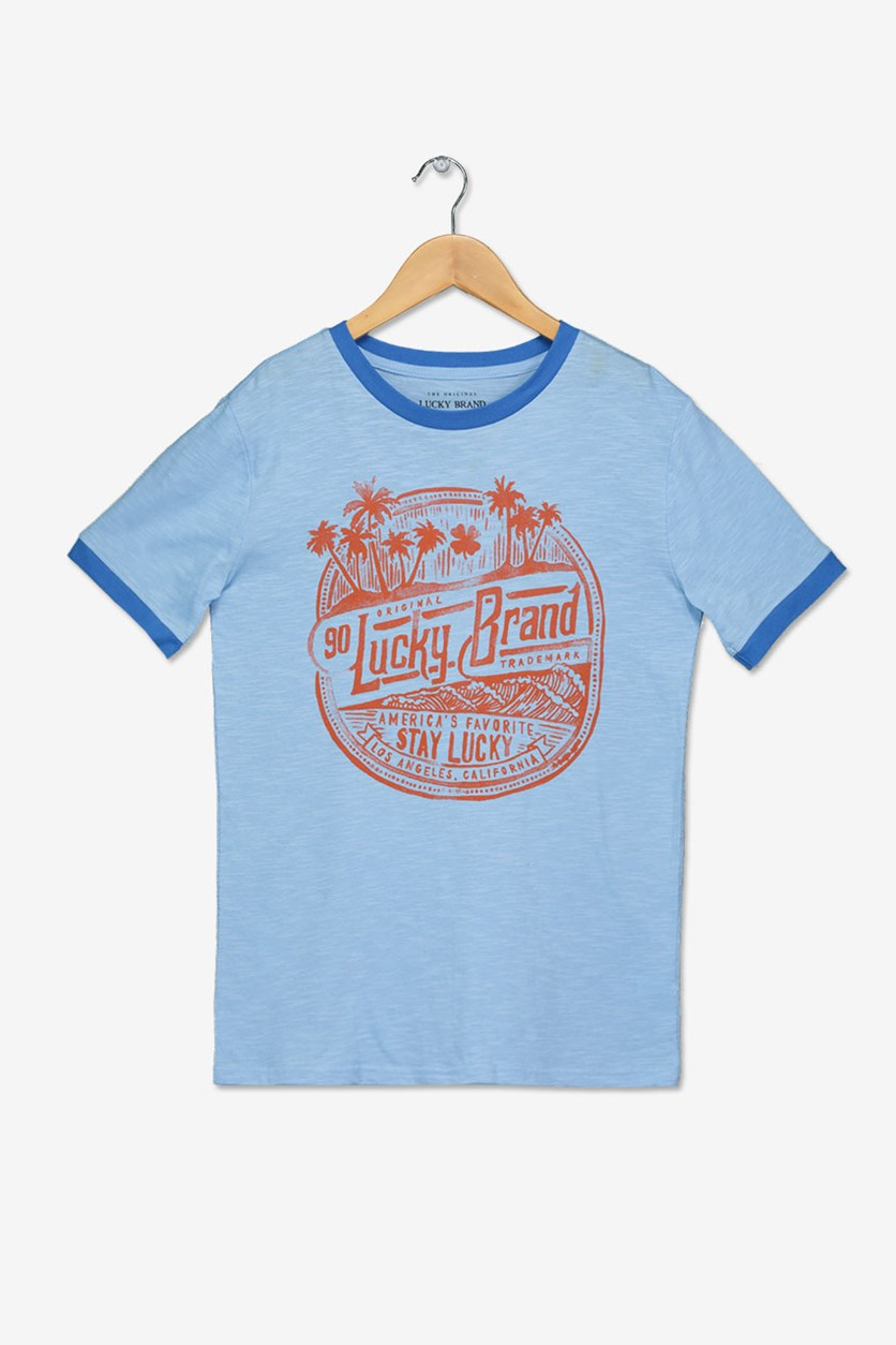 Boys Stamped Ringer Tee, Placid Blue