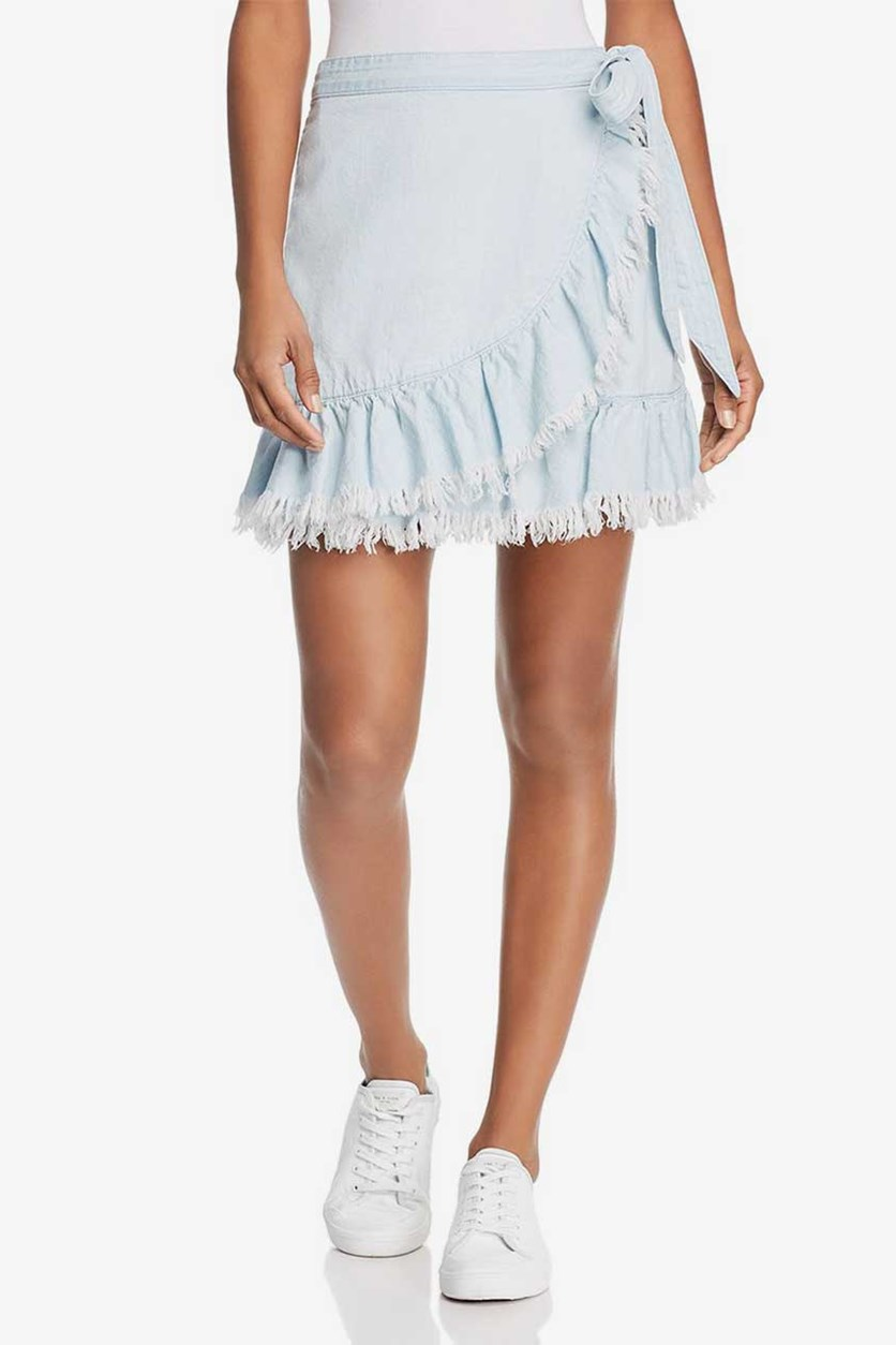 Women's Ruffled Frayed Wrap Skirt, Wash Blue