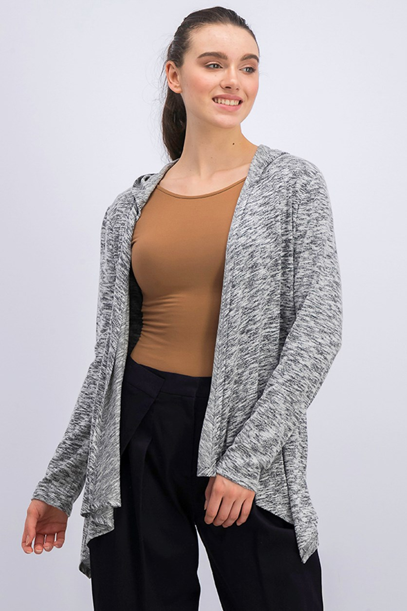 Women's Hooded Cardigan, Black Heather