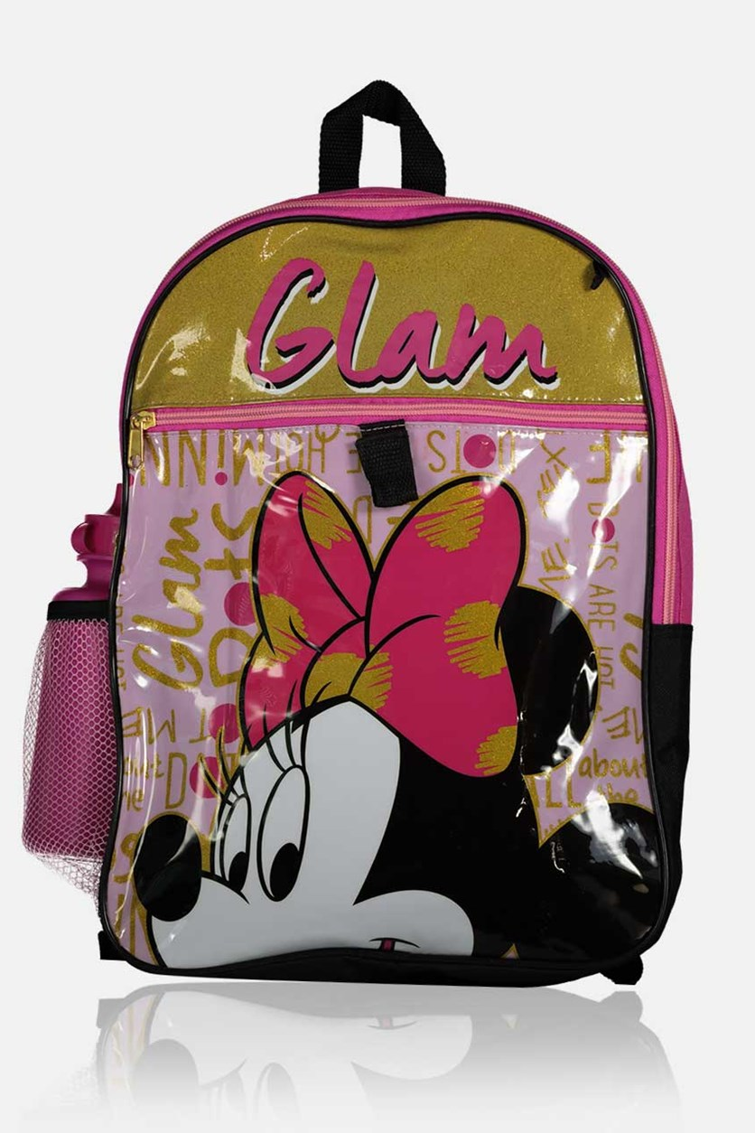 Kids Girls 5 pc Minnie Mouse Backpack, Pink Combo