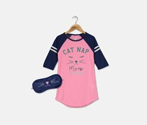 Max & Olivia Big Girls Graphic-Print  Nightgown & Eye Shade, Pink/Navy
