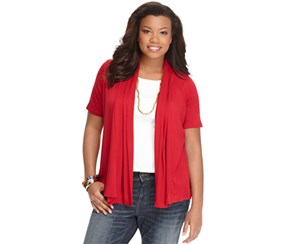 Ing Women's Plus Size Short-Sleeve Open-Front Cardigan, Red