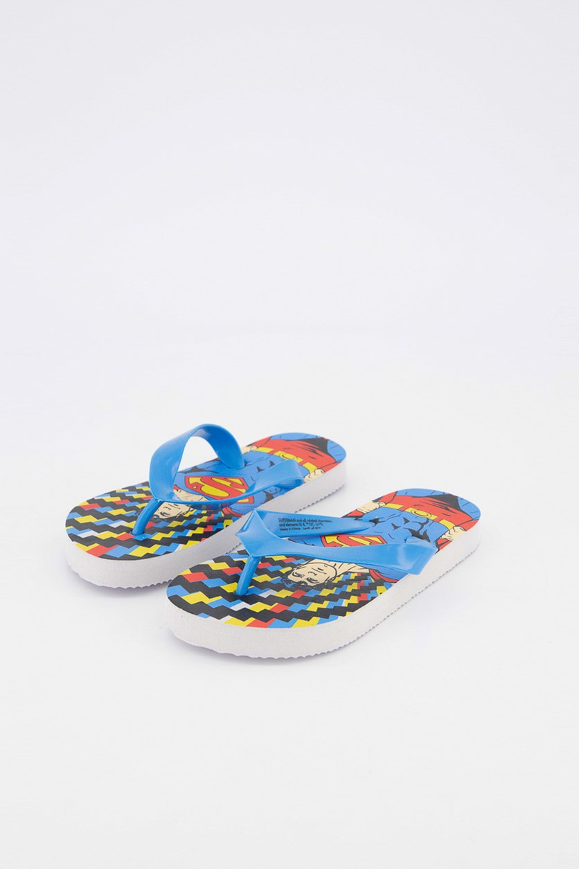 Kids Boys Superman Slippers, Blue Combo