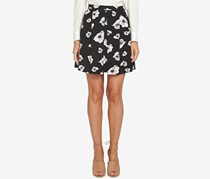 CeCe Women's Floral-Print Pleated Mini Skirt, Black