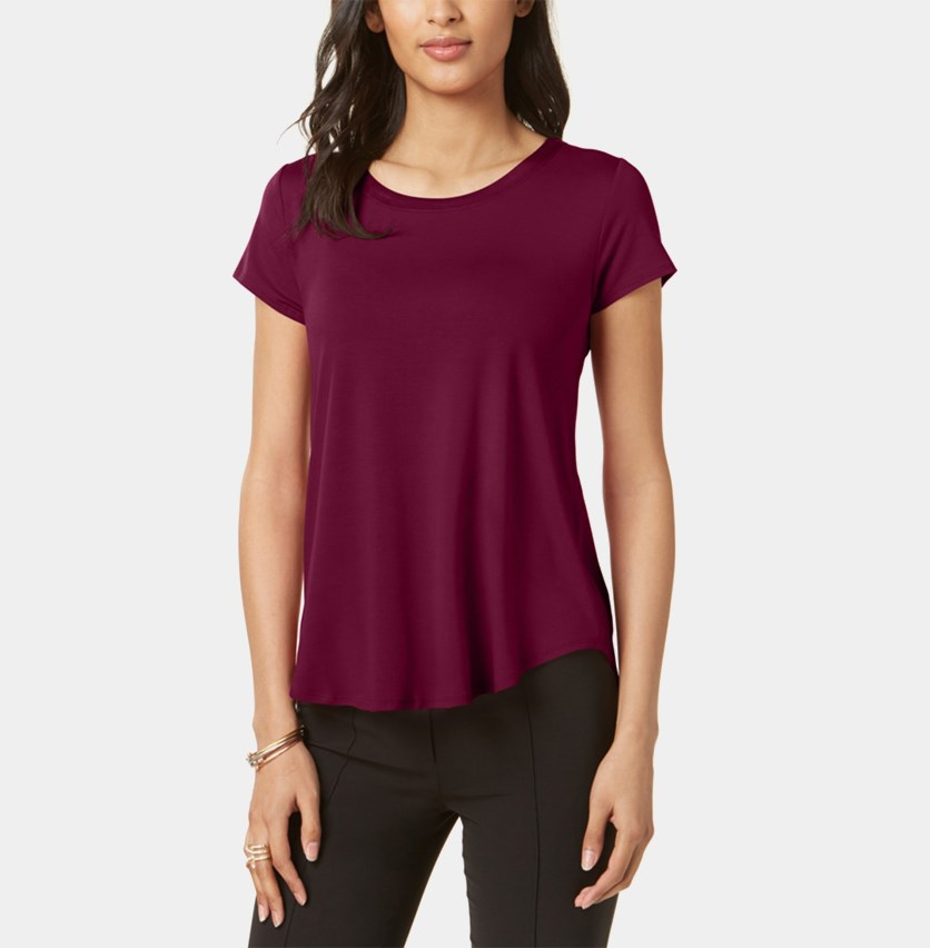 Petite High Low Hem Tee, Dark Berry