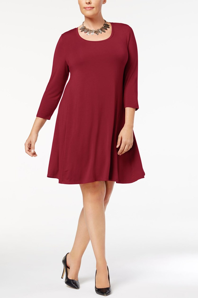 Scoop Neck Swing Dress, Red